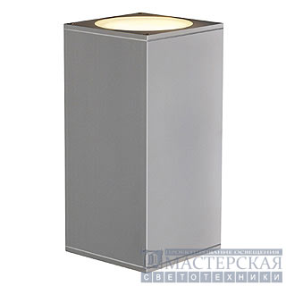 BIG THEO UP/DOWN OUT wall lamp , square, silvergrey, ES111, max. 2x75W