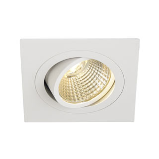 113881 NEW TRIA LED DL SQUARE Set, Downlight, mattweiss, 6W, 38°, 2700K, inkl. Treiber, Clipfed., SLV