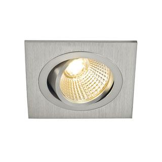 113886 NEW TRIA LED DL SQUARE Set, Downlight, alu-brushed,6W,38°, 2700K, inkl. Treiber, Clipfed., SLV