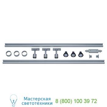 143194 1PHASE-TRACK, комплект из 2-х шинопров. 1м, 3-х свет-ков PURI с LEDлампами и аксессуаров, серебристы, SLV