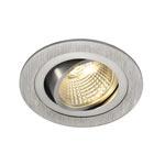 113876 NEW TRIA LED DL ROUND Set, Downlight, alu-brushed,6W,38°, 2700K, inkl. Treiber, Clipfed., SLV