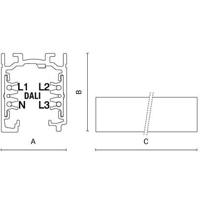 чертеж TRAC-line - Electrified Dali Arcluce трек и светильники 0191001X-11