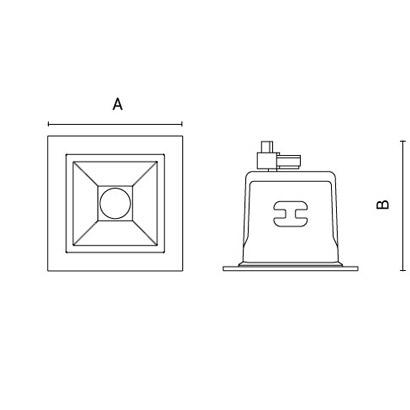 чертеж QUANTUM80-Compact Arcluce встраиваемый светильник 0361001A-830-11