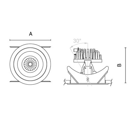 чертеж TANTUM130 Arcluce встраиваемый светильник 0362008A-930-11