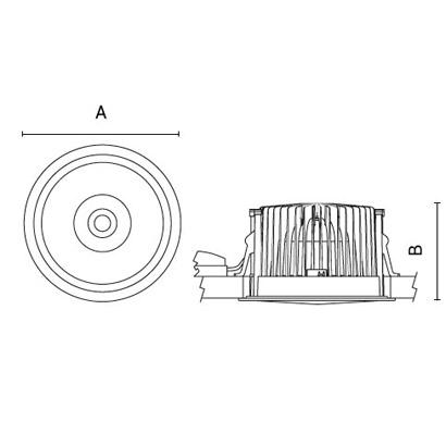 чертеж TANTUM210-Compact Arcluce встраиваемый светильник 0363013A-840-11