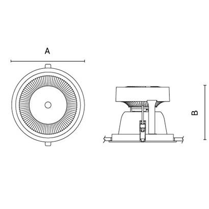 чертеж TANTUM210 Arcluce встраиваемый светильник 0363003A-840-11