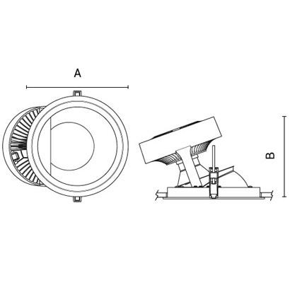 чертеж TANTUM210 Arcluce встраиваемый светильник 0363004A-840-11