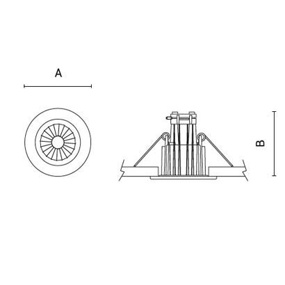 чертеж TANTUM50-Compact Arcluce встраиваемый светильник 0359003A-930-11
