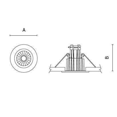чертеж TANTUM50-Compact Arcluce встраиваемый светильник 0359002A-930-11