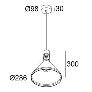 чертеж MILES C1 E27 AMBER Delta Light подвесной потолочный светильник