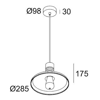 чертеж MILES C2 E27 AMBER Delta Light подвесной потолочный светильник
