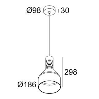 чертеж MILES C3 E27 PINK Delta Light подвесной потолочный светильник