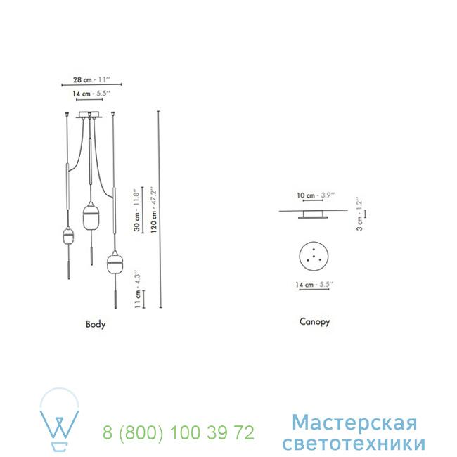 фотография Fleur de Kaolin DesignHeure brass, 28cm, H120cm подвесной светильник Su3fk1g1m1p120 1