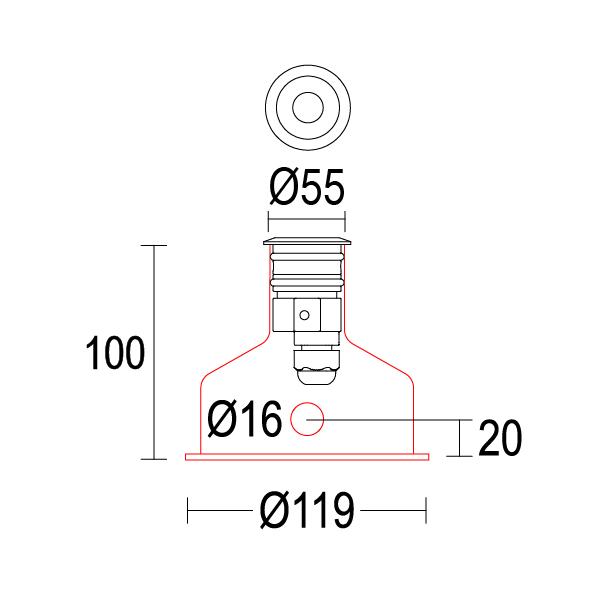 чертеж Maxisegno 55 Ghidini уличный светильник GH1009.AHMT300EC