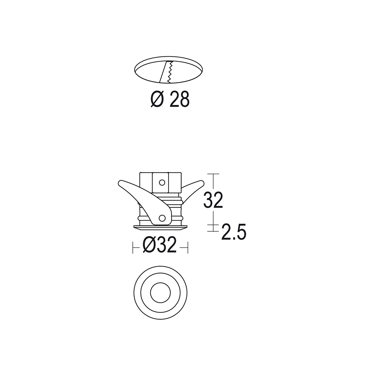 чертеж Microsegno 32 Ghidini уличный светильник GH1063.BAMT300EC