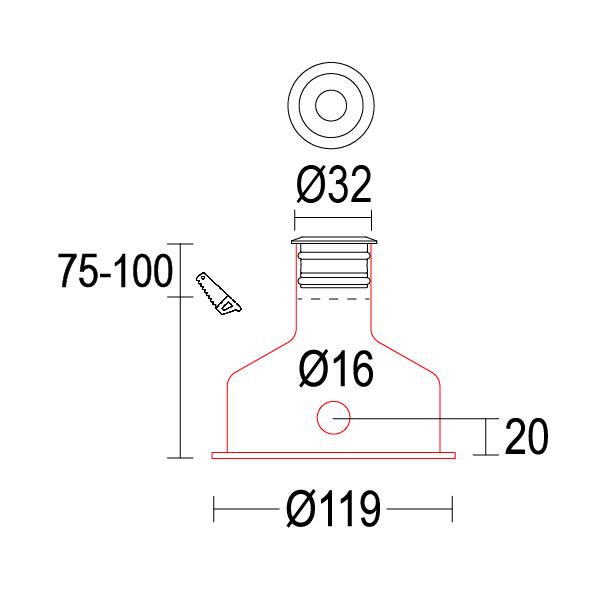 чертеж Microsegno 32 Ghidini уличный светильник GH1117.BAFB300EC