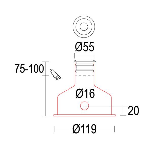 чертеж Maxisegno 55 Ghidini уличный светильник GH1119.BAFB300EC