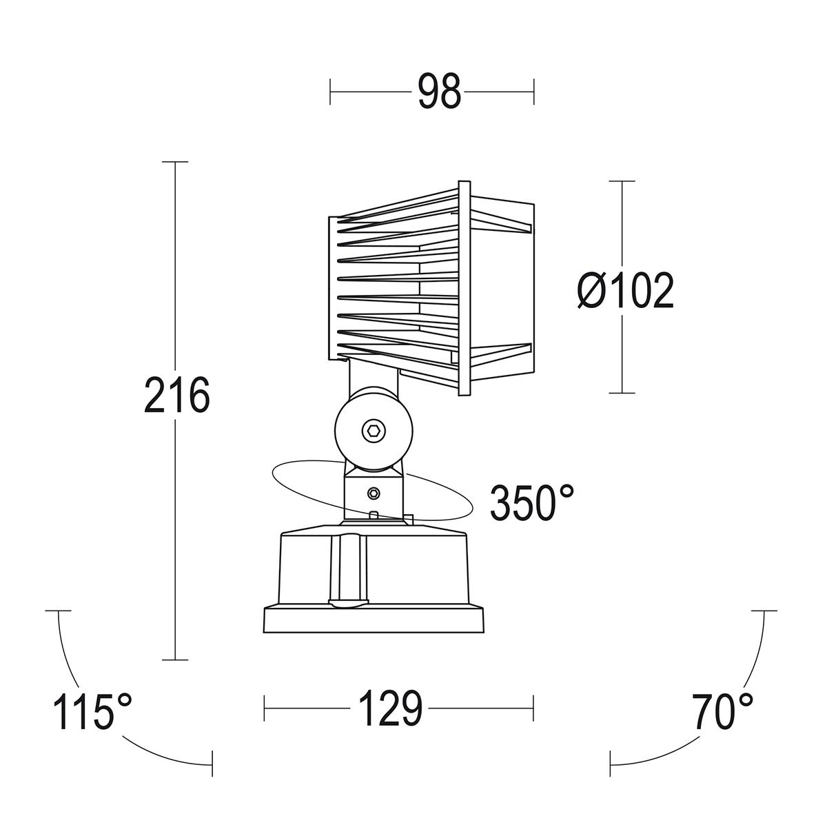 чертеж Minipario 100 Ghidini уличный светильник GH1129.BRMT300EN