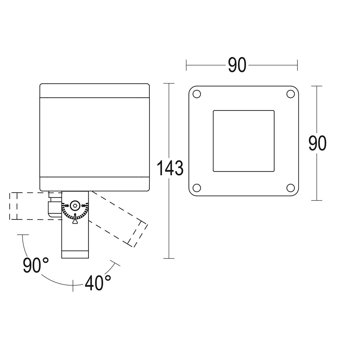 чертеж Microfaro spot 90 Ghidini уличный светильник GH1132.AHFT300EN