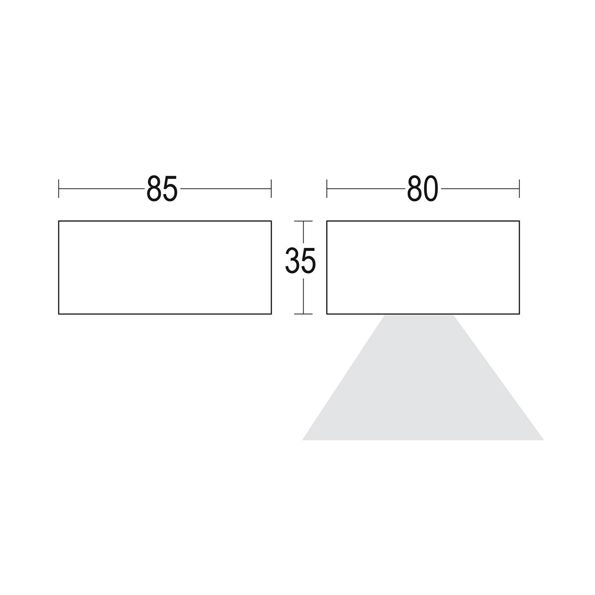 чертеж Compatto 1L 80x35 Ghidini уличный светильник GH1143.LVST300EC