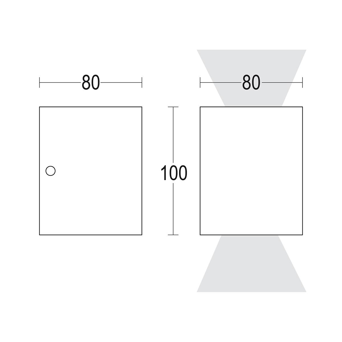 чертеж Compatto 2L 80x100 Ghidini уличный светильник GH1144.BRST300EN