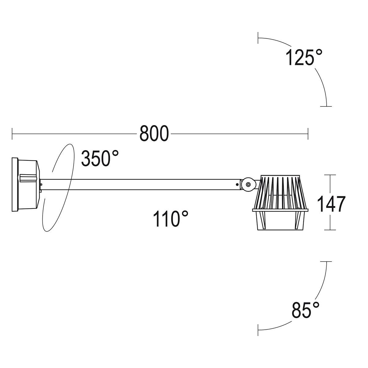 чертеж Pario 150 Extension Ghidini уличный светильник GH1148.ECST300EN