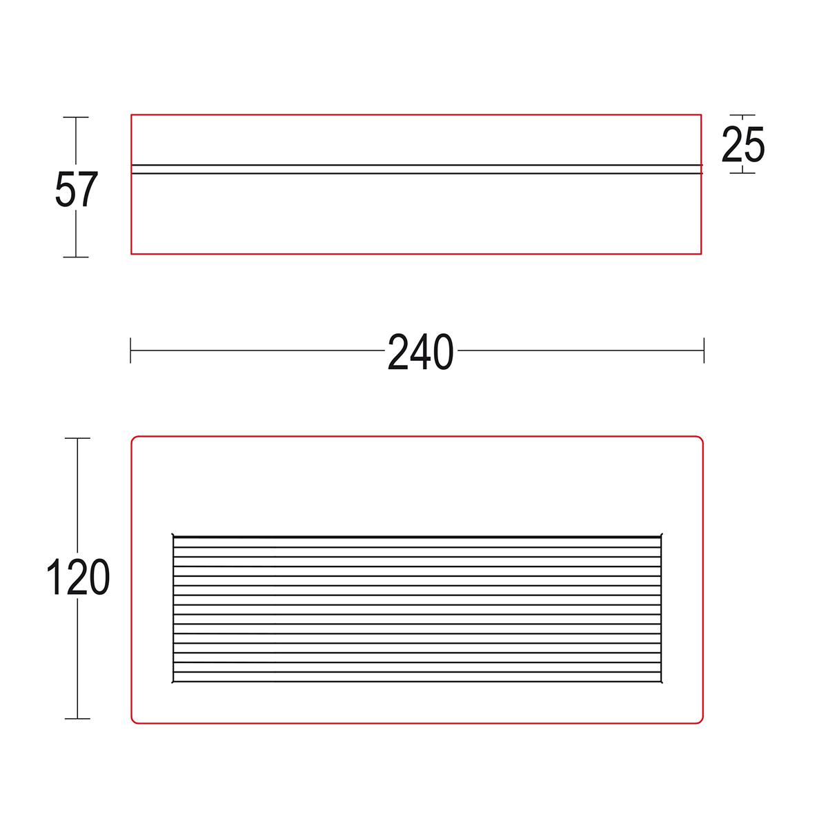 чертеж Longverso flat R 240x120 Ghidini уличный светильник GH1164.CAXP300EN