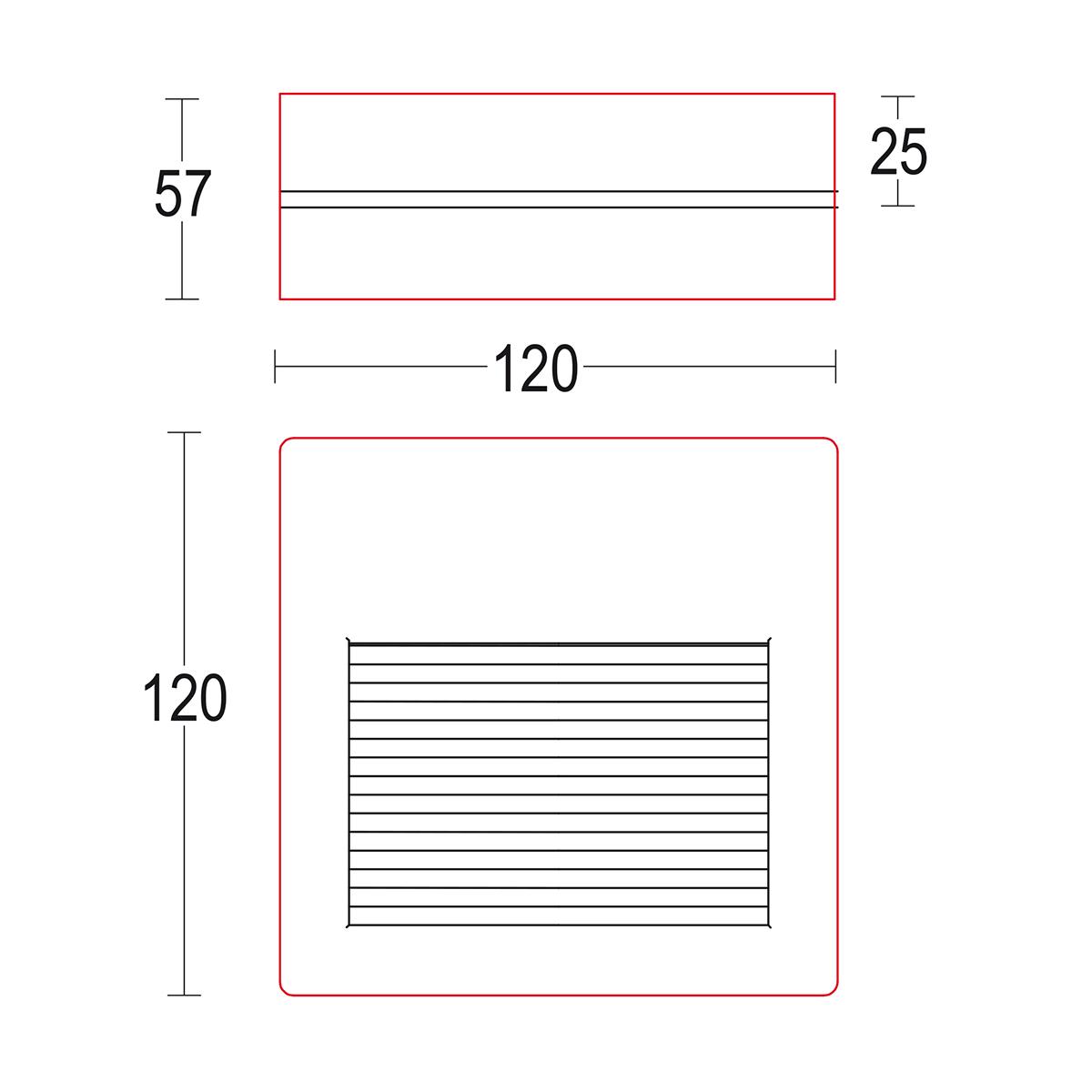 чертеж Miniverso flat R 120 Ghidini уличный светильник GH1165.BGXP300EN
