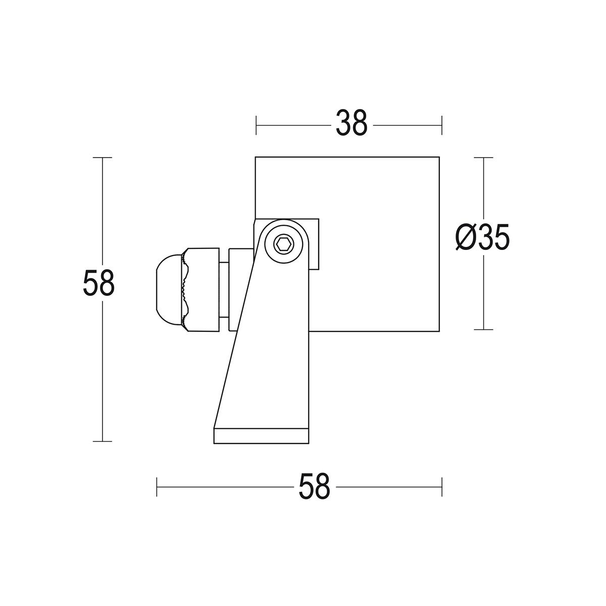 чертеж Segno Spot S Steel 35 Ghidini уличный светильник GH1171.BAST400EC