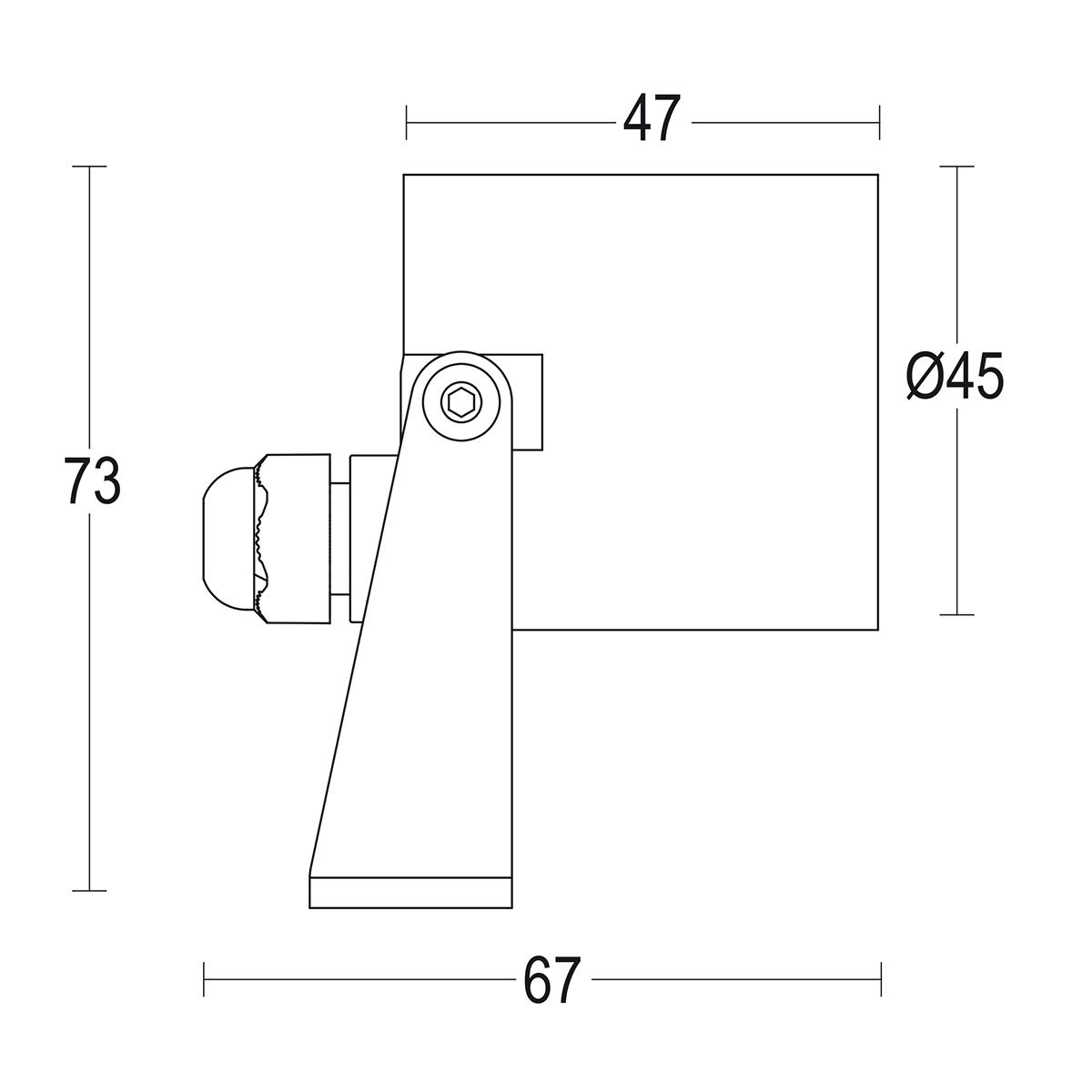чертеж Maxisegno Spot S Steel 45 Ghidini уличный светильник GH1172.BAST300EC