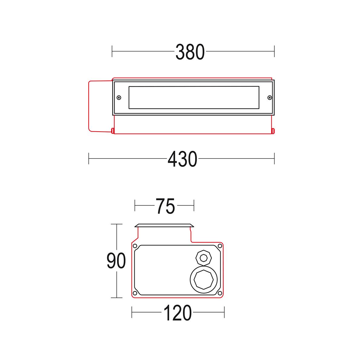 чертеж Miniconfine 300 Ghidini уличный светильник GH1179.LVFT300EN
