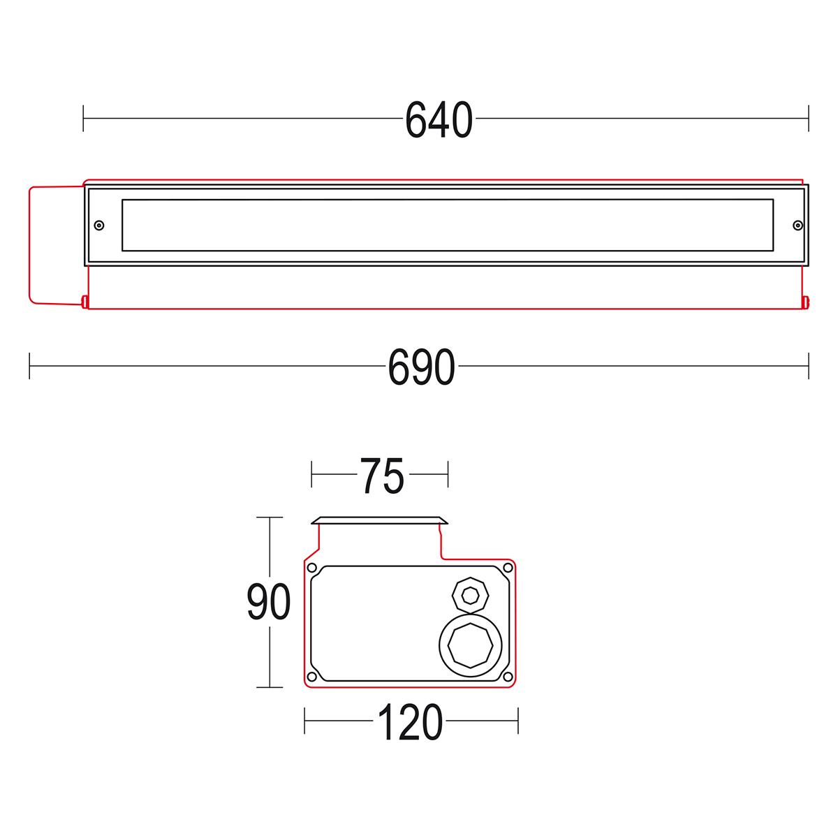 чертеж Miniconfine 600 Ghidini уличный светильник GH1180.BUFT300EN