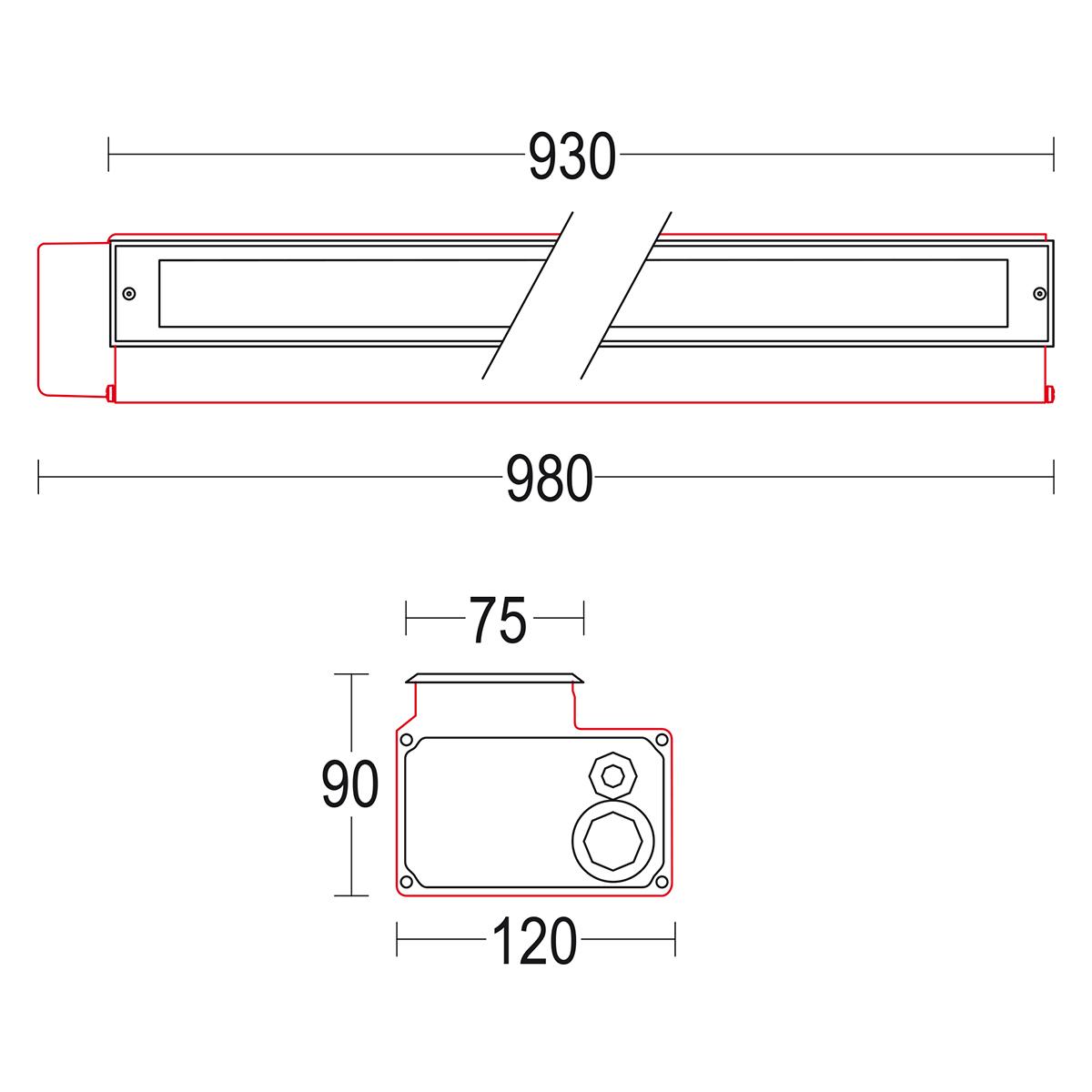чертеж Miniconfine 900 Ghidini уличный светильник GH1181.ELFT300EN