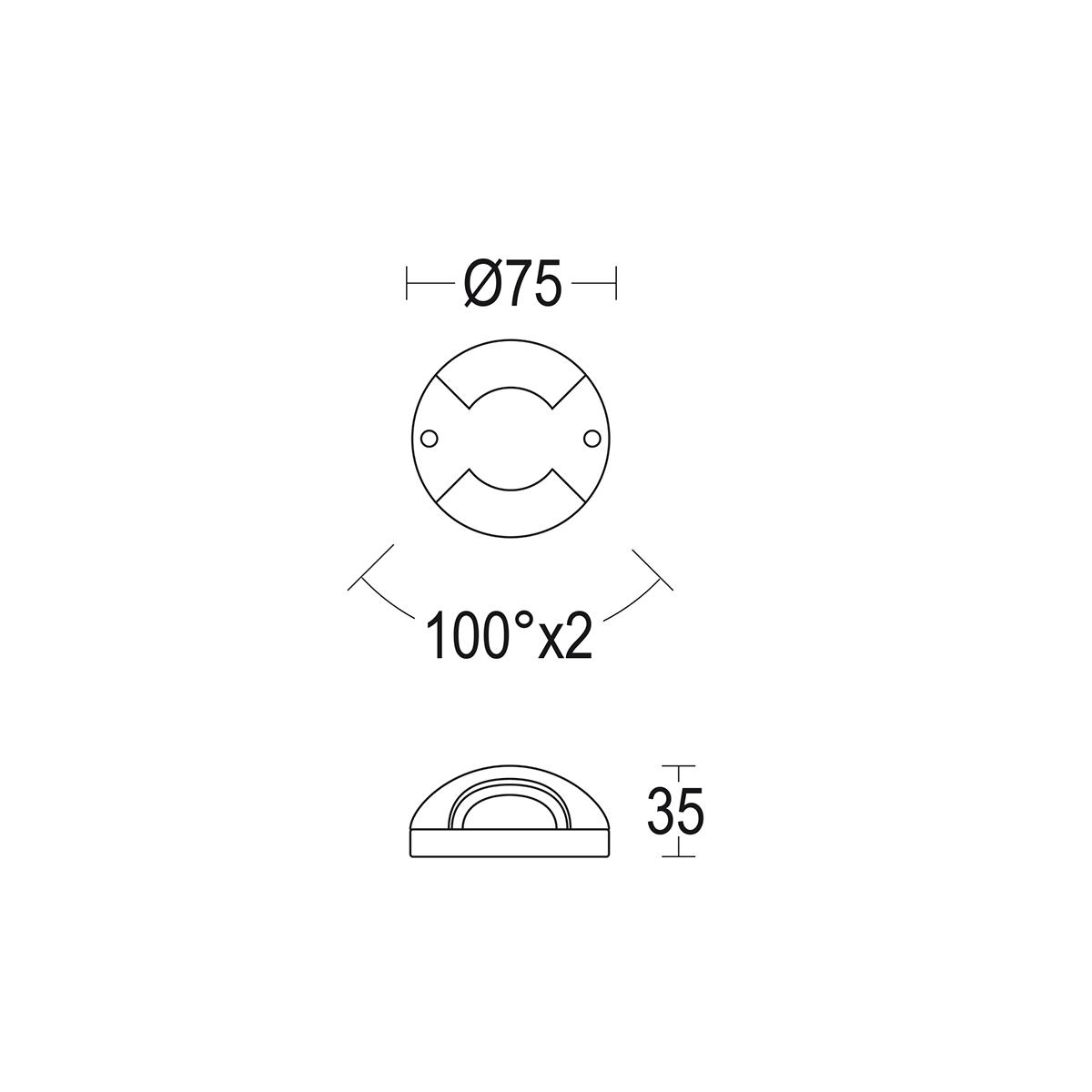 чертеж Microgeos 2L Flat 75 Ghidini уличный светильник GH1186.BAXT300EL