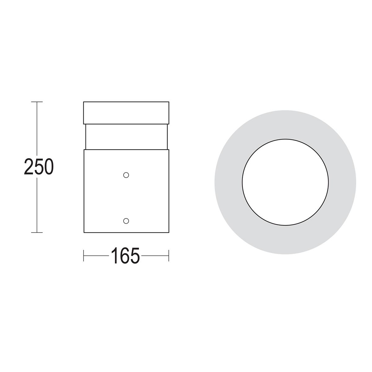 чертеж Maxitondo 250 Ghidini уличный светильник GH1203.FAXT300EN