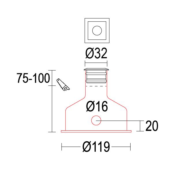 чертеж Microsegno 32 Ghidini уличный светильник GH1224.BAFW300EL