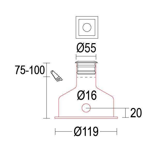 чертеж Maxisegno 55 Ghidini уличный светильник GH1226.BAFW300EL