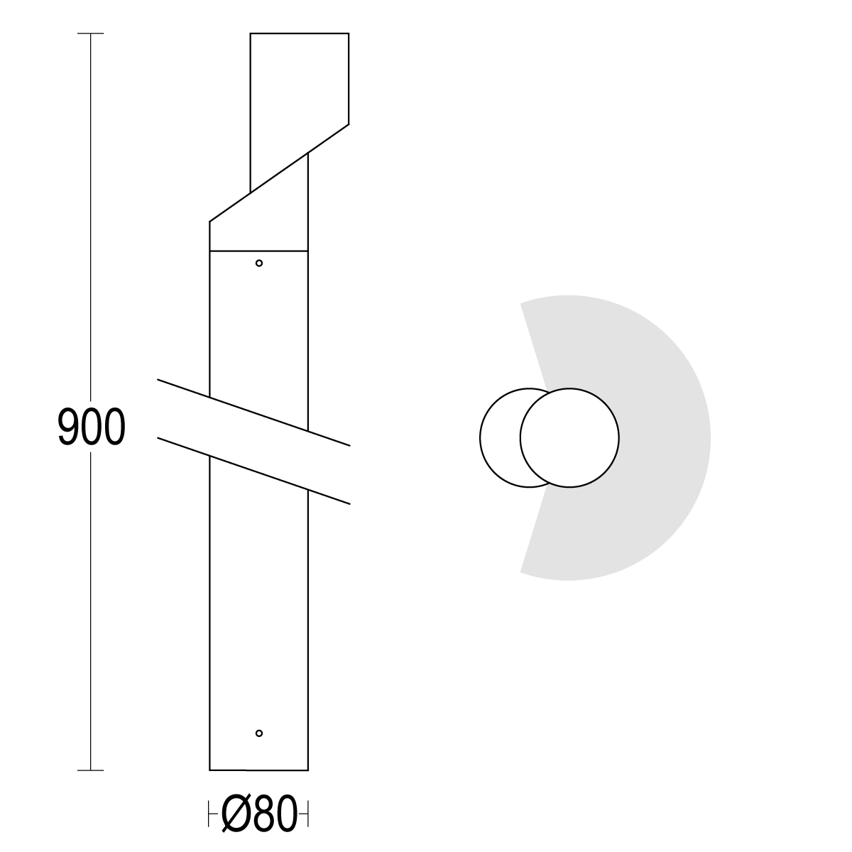 чертеж Zac! 900 Ghidini уличный светильник GH1254.AHXA300EN