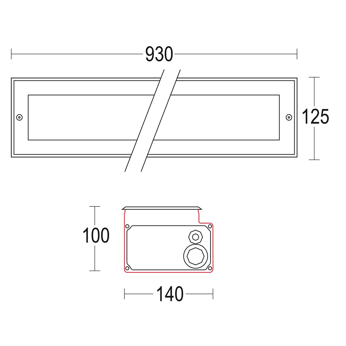 чертеж Confine 900 Ghidini уличный светильник GH1297.ELMT300EN