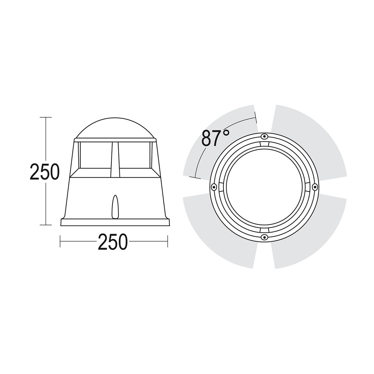чертеж Elmo 360° Ghidini уличный светильник GH1312.LRXO300EN