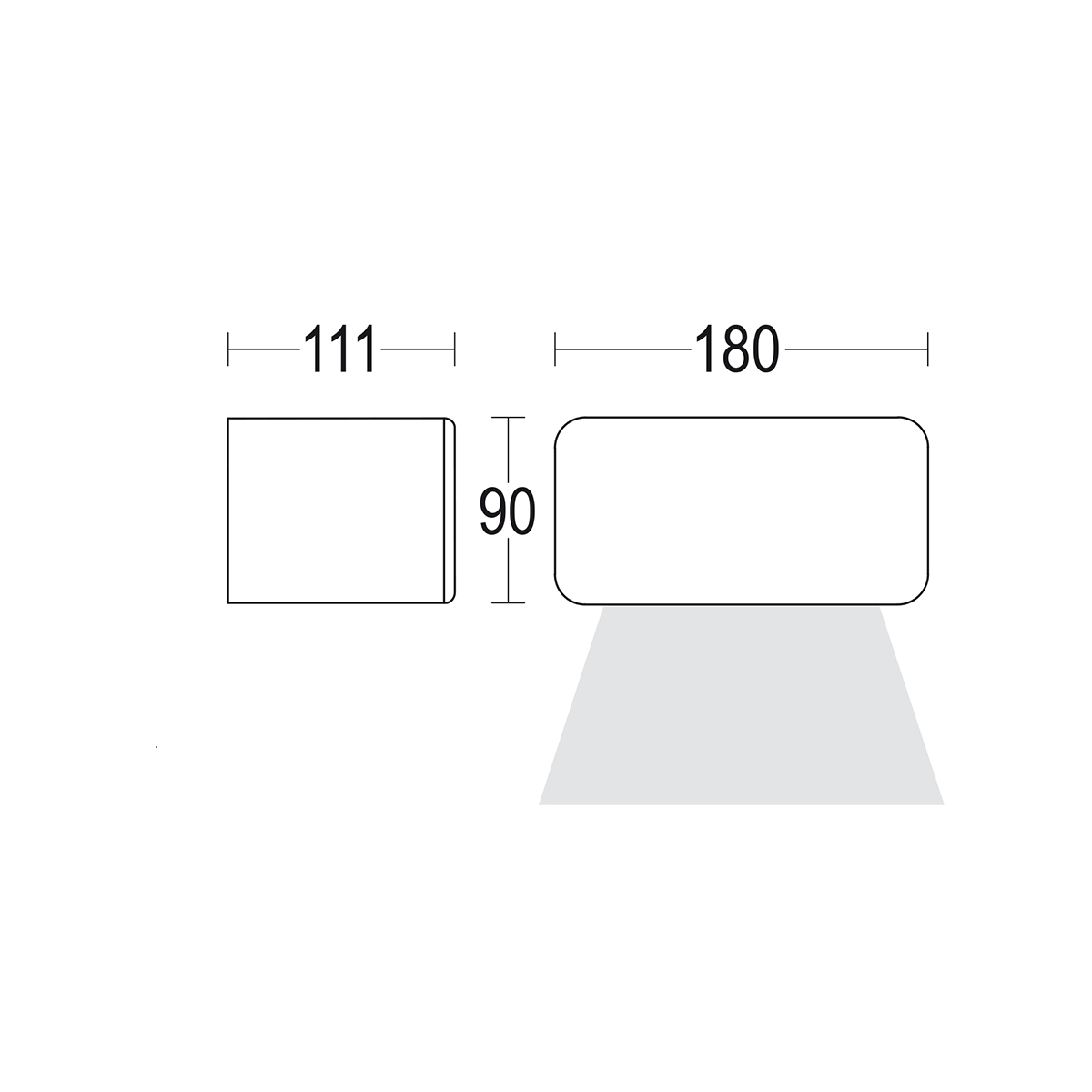 чертеж Minimodo 1L 180x90 Ghidini уличный светильник GH1332.CAMT300EN