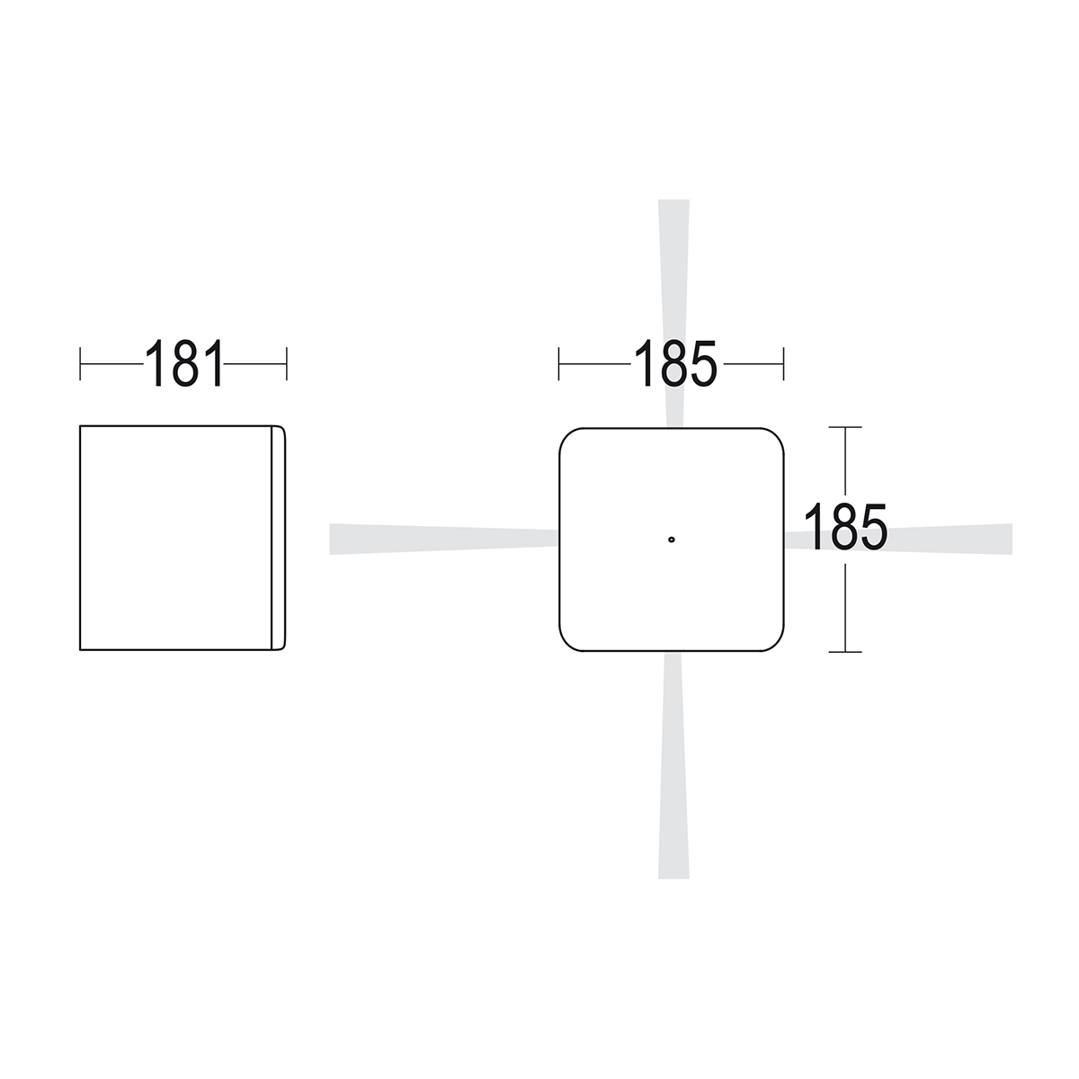 чертеж Bivio 4 Lenses 185 Ghidini уличный светильник GH1344.LRNT300EN