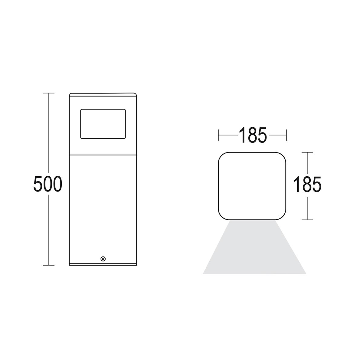 чертеж Polbivio 500 180° Ghidini уличный светильник GH1349.CGXT300EN