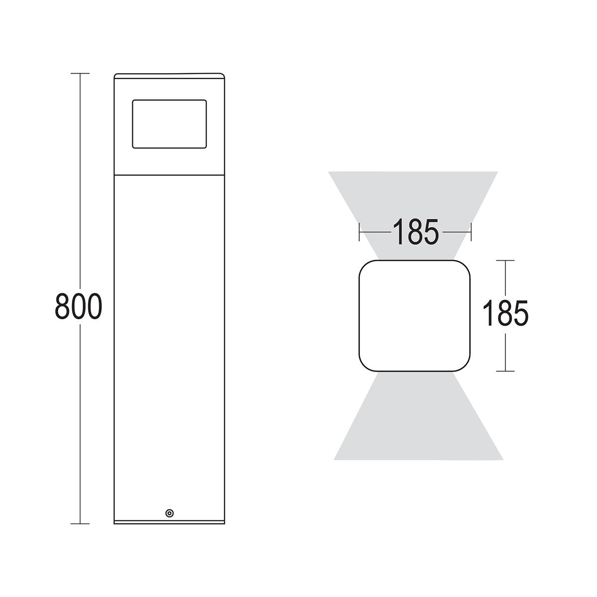 чертеж Polbivio 800 360° Ghidini уличный светильник GH1356.CGXT300EN