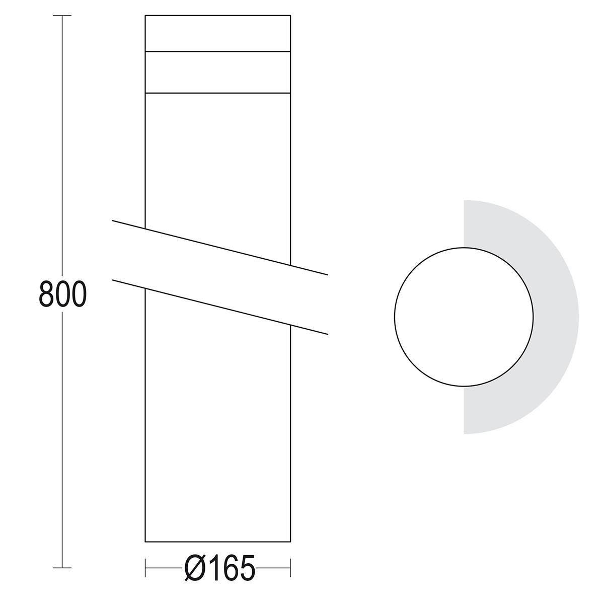 чертеж Maxitondo 800 Ghidini уличный светильник GH1371.FAXT400EN