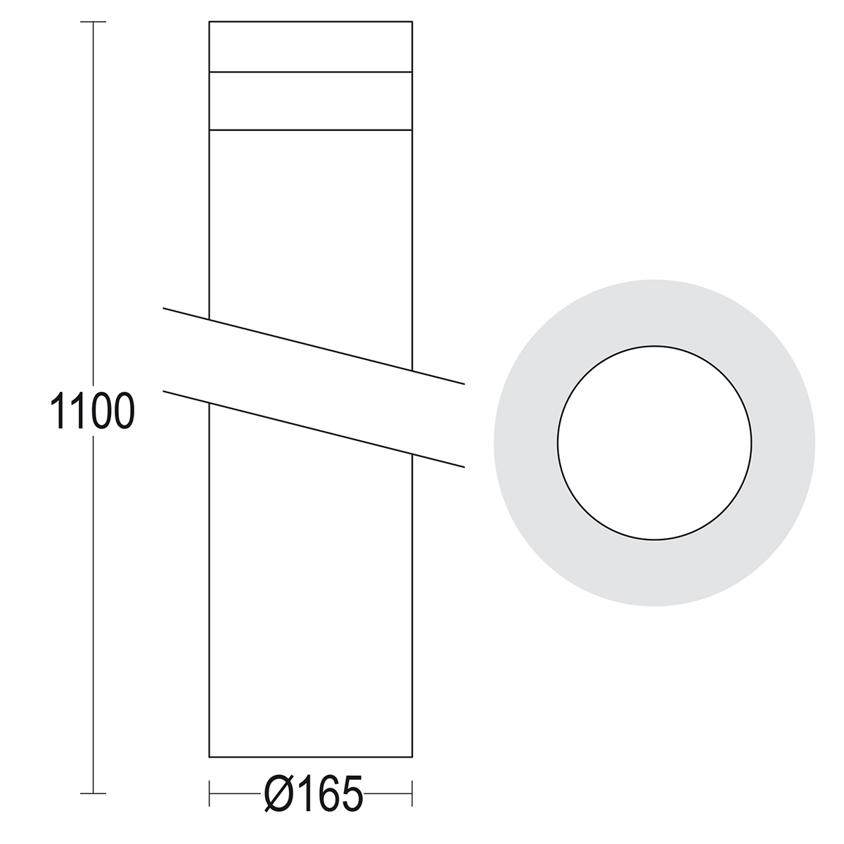 чертеж Maxitondo 1100 Ghidini уличный светильник GH1373.CGXT300EN