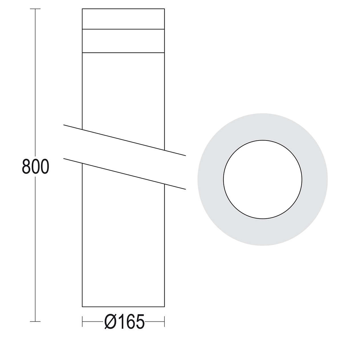 чертеж Maxitondo 800 Ghidini уличный светильник GH1374.FAXT400EN