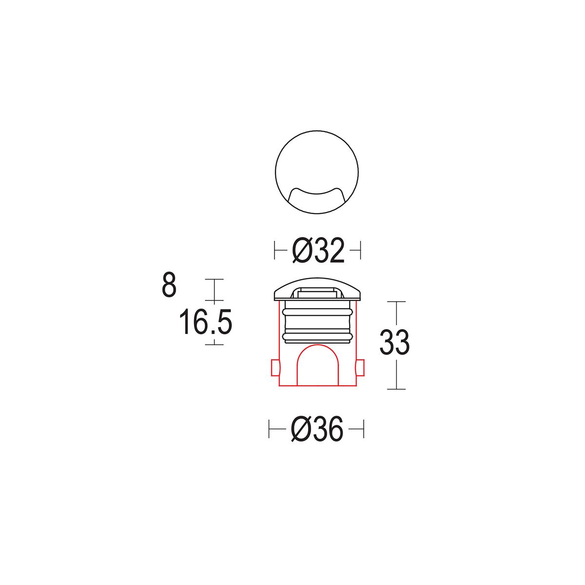 чертеж Microsegno walk 32 Ghidini уличный светильник GH1377.BAXO300EC