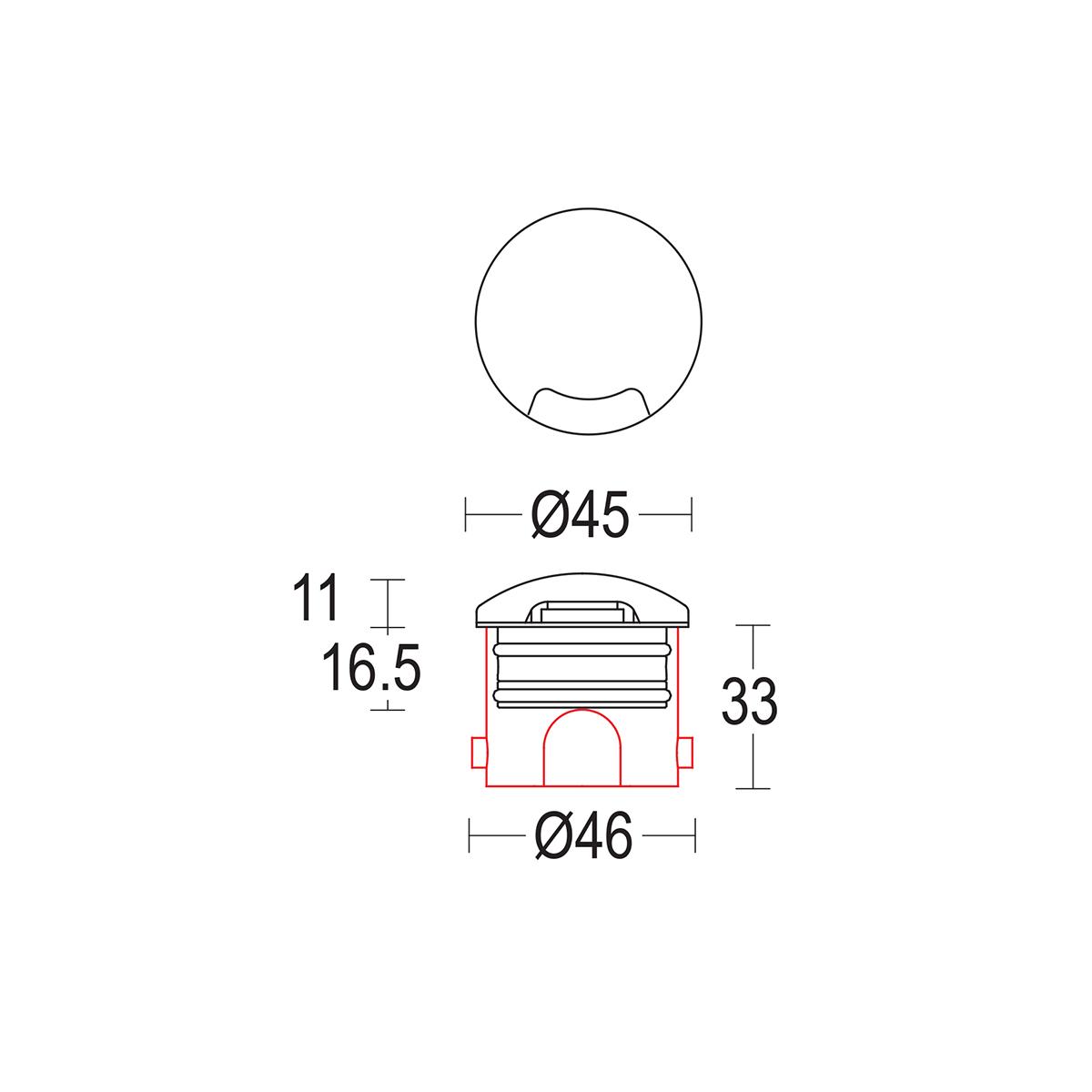 чертеж Segno walk 45 Ghidini уличный светильник GH1379.BAXO300EL