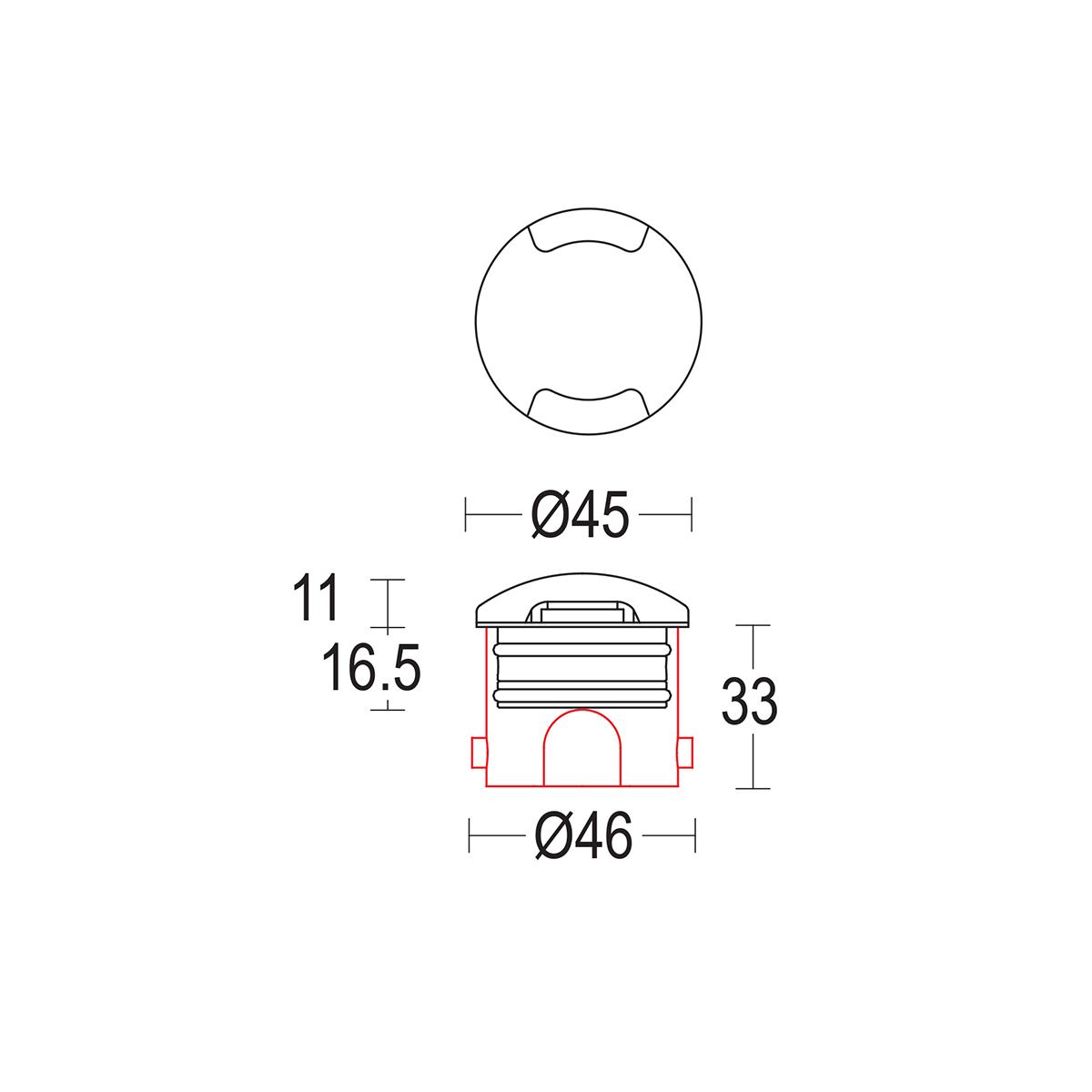 чертеж Segno walk 45 Ghidini уличный светильник GH1380.BAXO300EC